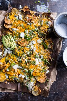 Crispy Buffalo Cheddar Potato Nachos, crispy, salted, slightly crunchy potatoes, tossed in buffalo sauce and topped with cheese Appetizer Recipes, Snack Recipes, Cooking Recipes, Skillet Recipes, Cooking Tools, Tapas Recipes, Potato Recipes, Pasta Recipes, Free Recipes
