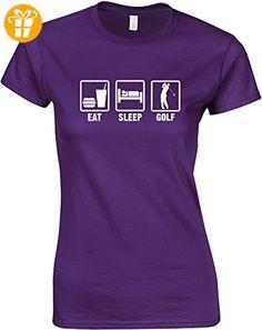 Eat Sleep Golf, Gedruckt Frauen T-Shirt - Lila/Weiß 2XL = 98-102cm (*Partner-Link)