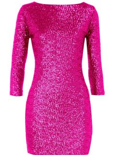 Plus Size - Perfectionist Pink Long Sleeve Sequin Dress, sequin ...