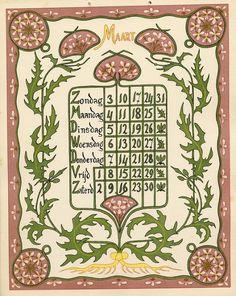 Art Nouveau Pattern, Art Nouveau Design, Design Art, Pagan Calendar, Art Calendar, Vintage Bookmarks, Zodiac Elements, Vintage Calendar, Graphics Fairy