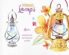 Magic Lamps. Watercolor handpainted clipart oil от OctopusArtis