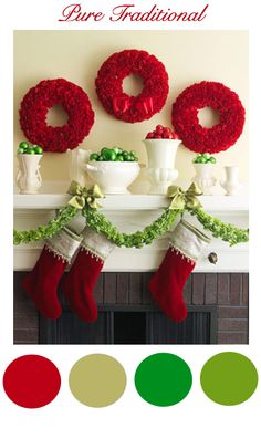 Transform your mantel into a focal point using our 50 Gorgeous Christmas Holiday Mantel Decorating Ideas for easy Christmas decorating. Fireplace Mantel Christmas Decorations, Christmas Mantels, Noel Christmas, Green Christmas, Christmas Colors, Simple Christmas, Beautiful Christmas, Christmas Wreaths, Christmas Crafts