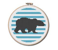 Silhouette Polar Bear Cross Stitch Pattern Instant Download