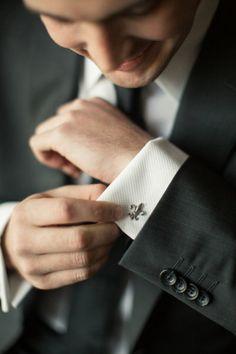 Fleur de Lis cufflinks - Houston Wedding from Mustard Seed Photography