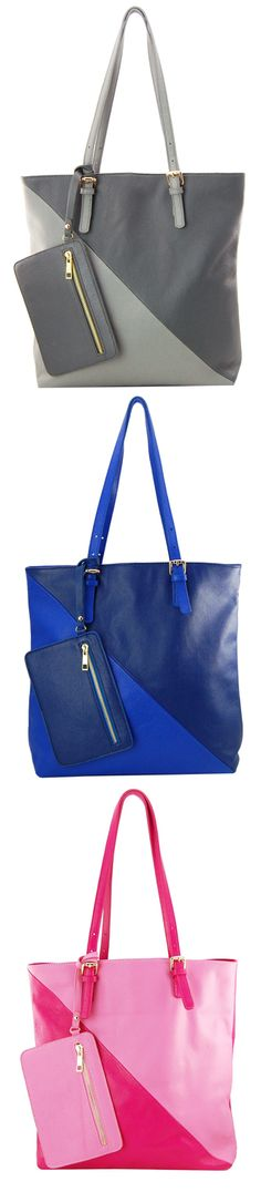 Try a color blocked tote for Fall!