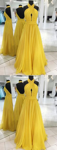 Boho A Line Halter Backless Pleated Long Yellow Prom/Evening Dresses #BohoPromDresses#YellowPromDresses#HalterPromDresses#Pleats#SimplePromDresses#Backless#FashionDresses