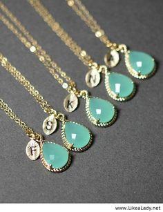 Mint opal green gold necklace. Bridesmaids gifts.