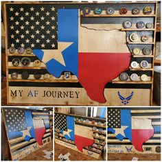 Texas & America's away flag plus thin blue line. Made from birch ply and i used behr high gloss paint with lacquer for the finish.