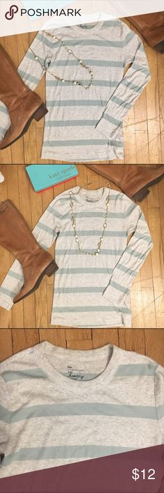 GAP long sleeve super soft striped t-shirt size M GAP long sleeve super soft striped t-shirt size M. Grey background with light aqua teal stripes. Made of cotton and modal. GAP Tops Tees - Long Sleeve
