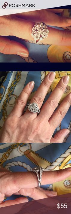 Lovely SS right hand ring and sparkling CZ Beautiful right hand AAA CZ and SS ring. Only wore once. Jewelry Rings