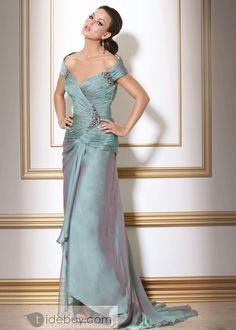 Faddish Draped Beaded Off-the-Shoulder Sweep/Brush Train Mother of the Bride Dresses