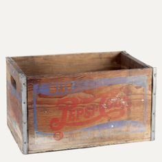 Hillsboro bottling crate: Wooden box with metal strapping and markings.