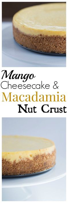 Creamy Mango Cheesecake with a Crunchy Macadamia Nut Crust. This cheesecake didn't crack. Check out my tips with the recipe. (Baking Desserts Tips) Just Desserts, Delicious Desserts, Yummy Food, Mango Desserts, Baking Desserts, Mango Cheesecake, Cheesecake Crust, Let Them Eat Cake, Cheesecakes