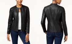 Style & Co Faux-Leather Moto Jacket, Created for Macy's - Jackets - Women - Macy's