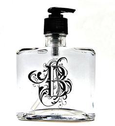 Ornamental Monogram Glass Soap Bottle  All by SimplySweetSoap, $15.00