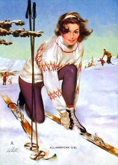 Fritz Willis. All American Girl. Vintage ski style.