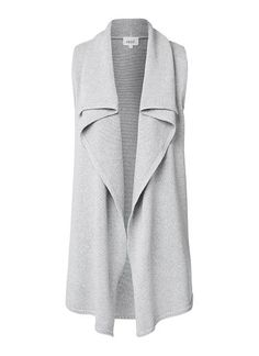 100% Cotton Waterfall Vest. Comfortable yet neat fitting silhouette features a wide waterfall lapel at front body in an all over knitted fabrication. Available in Mid Grey Marle as shown.