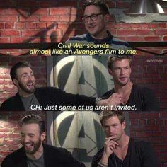 Chris Hemsworth has finally achieved the ability to block Chris Evans' left boob thing. XD