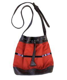Naga  traditional motifs handwoven and leather bucket bag