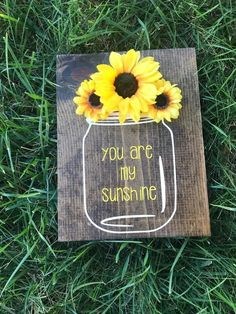 you are my sunshine wooden wall decor hand painted sign mason jar sunflower decor country rustic nursery baby decor home decor Diy Gifts For Christmas, Sunflower Room, Sunflower Crafts, Sunflower Home Decor, Sunflower Nursery, Sunflower Decorations, Sunflower Bathroom, Sunflower Wreaths, Wedding Decorations