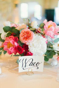 pink peony + garden rose centerpiece | Sarah McKenzie