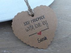 Personalised  100% Handmade with Love  Gift /Price Heart Shape Tags Label Kraft Stamp