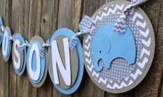 "Elephant Chevron ""It's a Boy"" Baby Shower Banner"