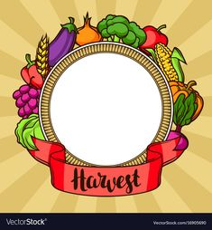 Harvest decorative element autumn vector image on VectorStock Seasonal Fruits, Autumn Illustration, Fruit In Season, Adobe Illustrator, Harvest, Vector Free, Psychology, Ribbon, Pdf