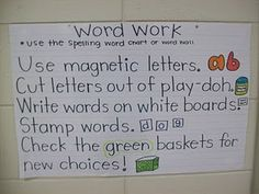 Idea...Post posters at center with options of things to work on. Helps para and subs to know what they can work on with the kids