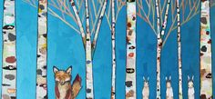 Fox and Rabbits in Metallic Blue with Gold and Copper Branches http://elihalpin.com/artwork/3267490_Fox_and_Rabbits_in_Metallic_Blue_with.