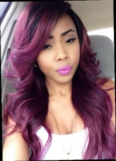 42.88$  Watch here - http://ali2a0.worldwells.pw/go.php?t=32571707670 - Free shipping 1b to purple two tone ombre heat resistant wavy synthetic lace front wig long soft purple ombre hair 42.88$