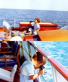 """John F. aboard his father's yacht the """"Honey Fitz"""", Hyannis Port, August 1963 Les Kennedy, John Kennedy Jr, Caroline Kennedy, Jfk Jr, Hyannis Port, John Junior, John Fitzgerald, Old Money, New England"""