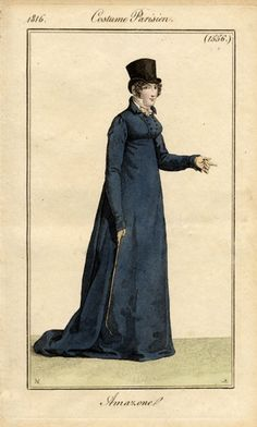 The fashion plate above shows the quintessential habit from the Regency era (this example from 1816). They were frequently made in wools of a darker colour. While reds had been very stylish in the eighteenth century and still enjoyed popularity, navy blue became equally fashionable during the Regency. The habits had influences from masculine garments and military uniforms. Under the habit, you could see the delicate white cravat. New York Public Librarys picture collection.