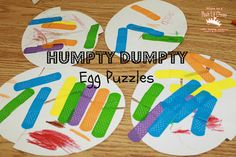 Humpty Dumpty style Egg Puzzles put together with colorful band-aids