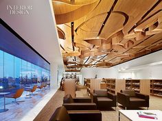 Commercial Interiors. West Hollywood Library. Carved Bamboo Canopy.  Designers: Johnson Favaro and Carol Cambianica.