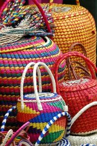 mexican designed baskets, very colorful and decorative