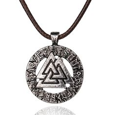 Norse Vikings Pendant Necklace Scandinavian Viking jewelry Odin's Symbol of Norse Viking Warrior Necklace Vintage Necklace