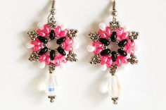 Seed bead earrings in black and rose Twin beads, white luster drops, silver seed beads, crystals - Twin bead earrings - starburst earrings