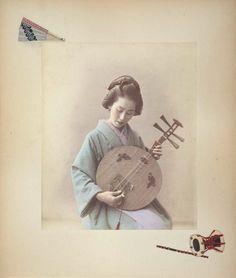 Woman playing a gekkin, Adolfo Farsari, 1886
