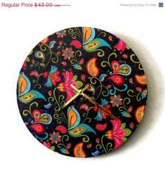 Holiday Sale Retro Wall Clock  Home Decor Decor and by Shannybeebo