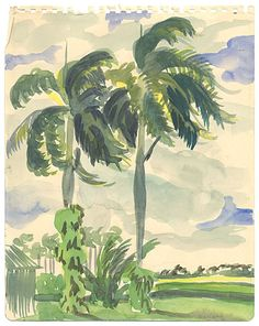 Citation: Two Green Palm Trees by a House in Senado, 1946. Emilio Sanchez papers, Archives of American Art, Smithsonian Institution.