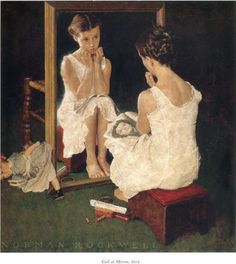 Norman Rockwell – Girl at Mirror. 1954. Regionalist painting, oil on canvas. Norman Rockwell Museum.