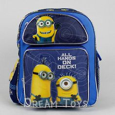 """Despicable Me 2 Small Backpack Minions on Deck 12"""" Boys Toddlers Book Bag 