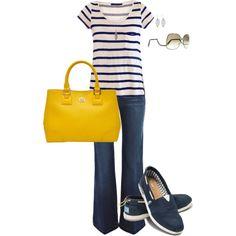 ¡Llegó el Verano! Disfrtuta de la moda marinera. Recuerda usar contraste en tus accesorios, para verte actual y divertida. Striped Tee, created by bayelle on Polyvore