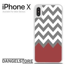 Grey White Red Tosca Chevron For iPhone X