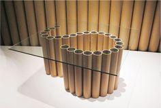 alvar aalto: shigeruban's furniture - Modern Diy Cardboard Furniture, Cardboard Design, Paper Furniture, Recycled Furniture, Furniture Design, Cardboard Tube Crafts, Cardboard Recycling, Cardboard Rolls, Cardboard Playhouse
