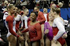 Minute-by-minute report: Simone Biles, Gabby Douglas, Laurie Hernandez, Aly Raisman and Madison Kocian will represent at the Olympics Gymnastics Facts, Gymnastics Images, Olympic Gymnastics, Olympic Team, Gymnastics Posters, Madison Kocian, Breaking In Shoes, Laurie Hernandez, Olympic Trials