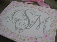 16x20 shabby chic monogram personalized hand painted by poshpaints
