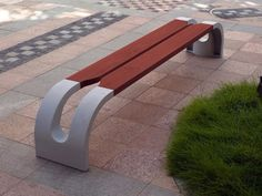 Concrete & wood bench.