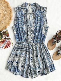 b3d89c568ba0  5 off  50 Sale Special for New Users.Printed Ruffle Cut Out Romper